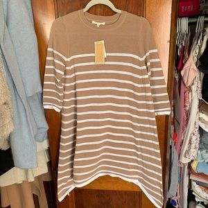 NWT Tan and White Stripped Knit Dress